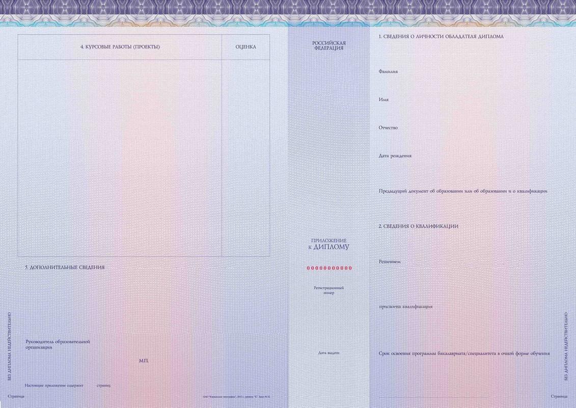 Киржачская типография Заказать продукцию Бланк приложения к диплому бакалавра диплому бакалавра с отличием диплому специалиста диплому специалиста